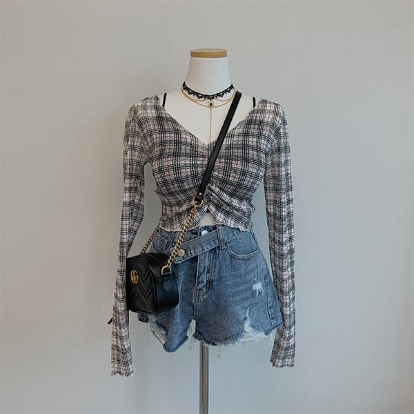 Lala check shirred cropped blouse