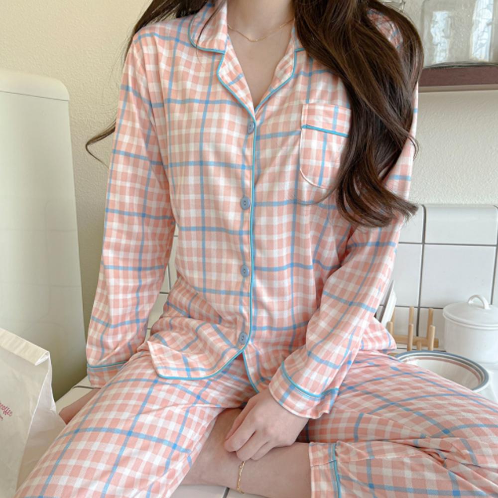 Pastel Check Pajamas/Home Wear Set T#YW059