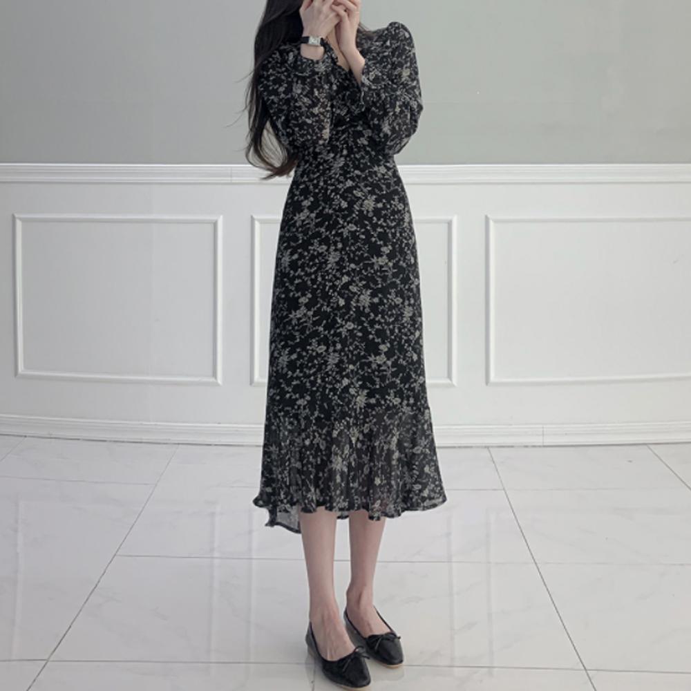 V-Neck balloon flower ribbon shirring Dress T#YW736