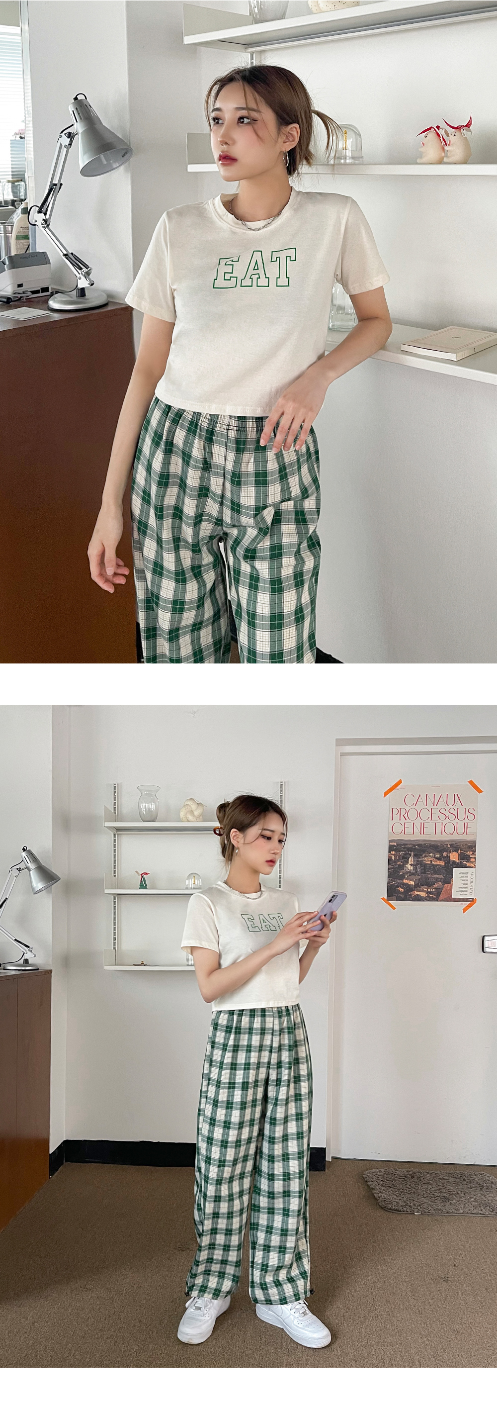 Terry check two-way banding trousers