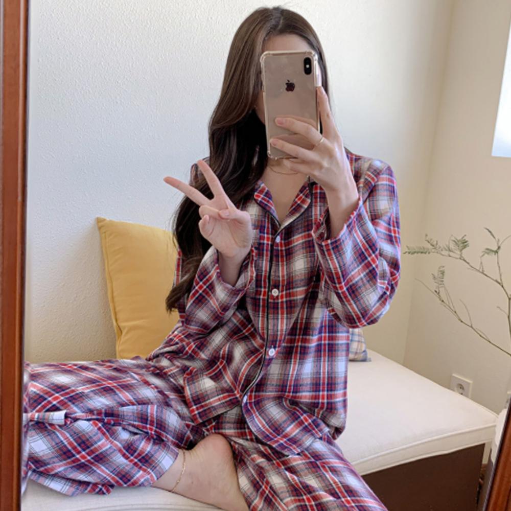 Unisex Loose-fit Fit Check Pajama Sleepwear/Home Wear Set T#YW063