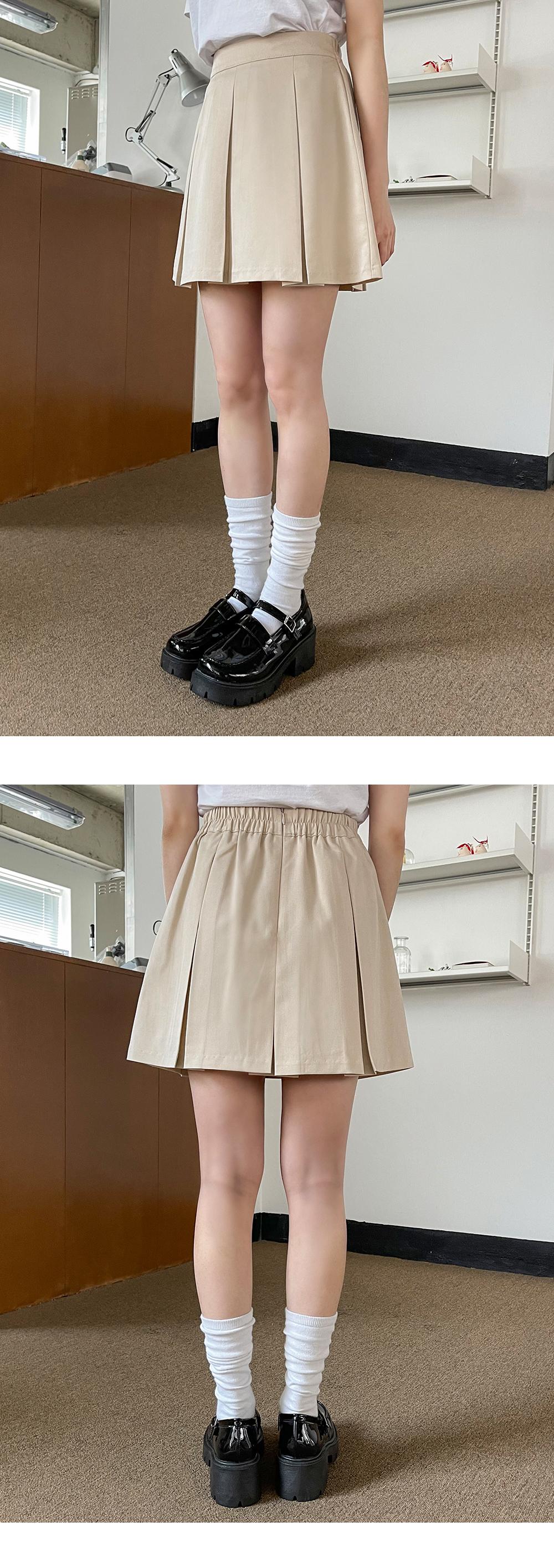 Mau pleated banding mini skirt