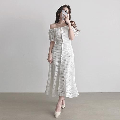 Kanadaran Bridal Shower A-Line Punching Long Dress 2color