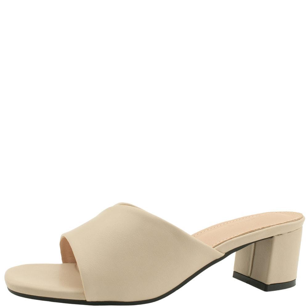 韓國空運 - Feminine Middle Heel Mule Slippers 5cm Beige 涼鞋