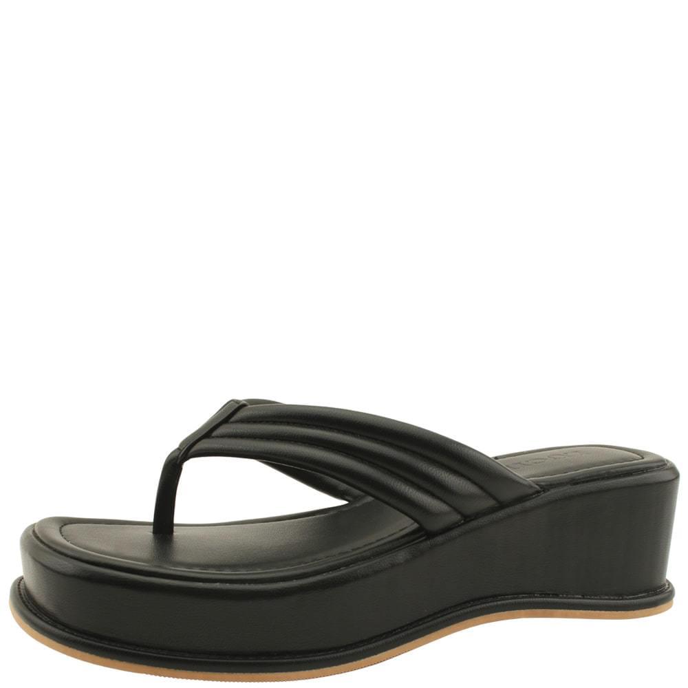 韓國空運 - Wedge Heel High Heel Slippers Black 涼鞋