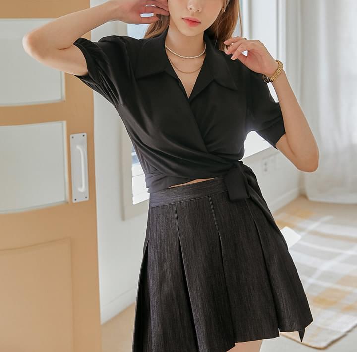 Tie Hem Cropped BlouseWITH CELEBRITY _ Eunji(Brave Girls)