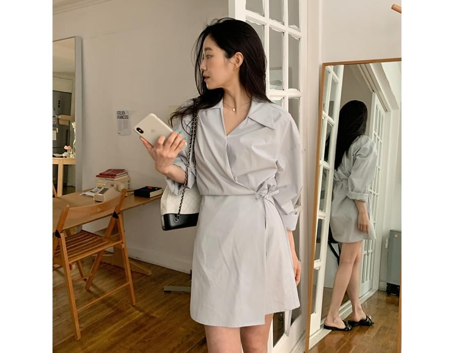 Penelope Shirt Wrap Mini Dress