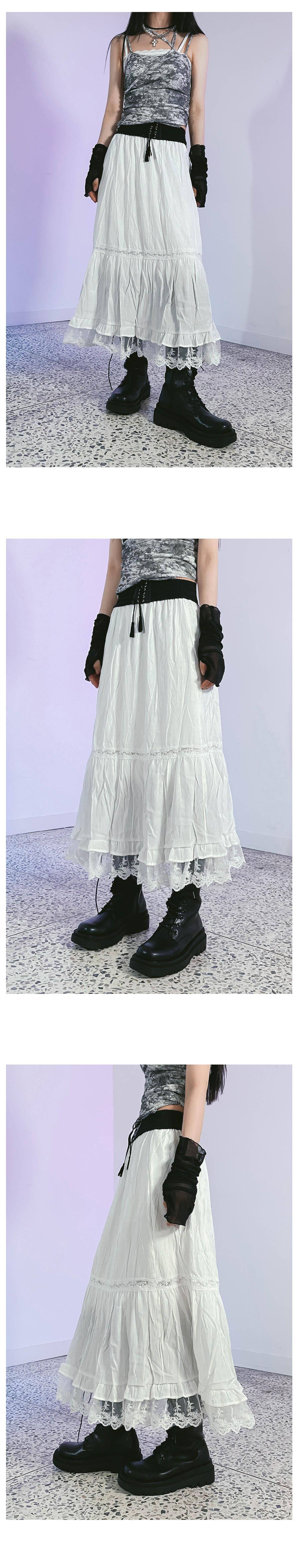 Lace eva long skirt