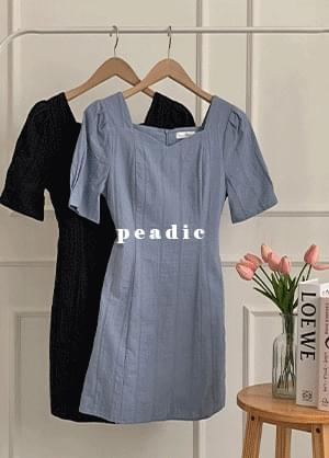 Pedic Heart Neck Back Ribbon Mini Dress
