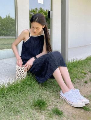 Lea Bias Pleated Long Dress