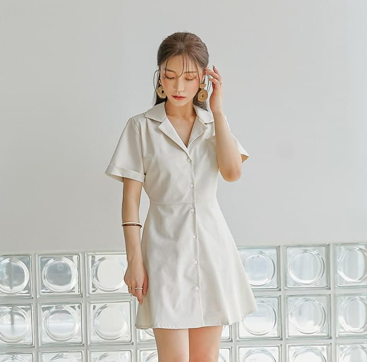 Cuffed Sleeve A-Line Shirt Dress (Delayed delivery)