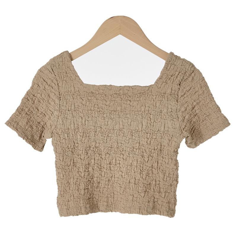 Wrinkle Slim Crop T-shirt