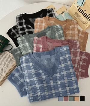 Garden Check V-Neck Short Sleeve Knitwear