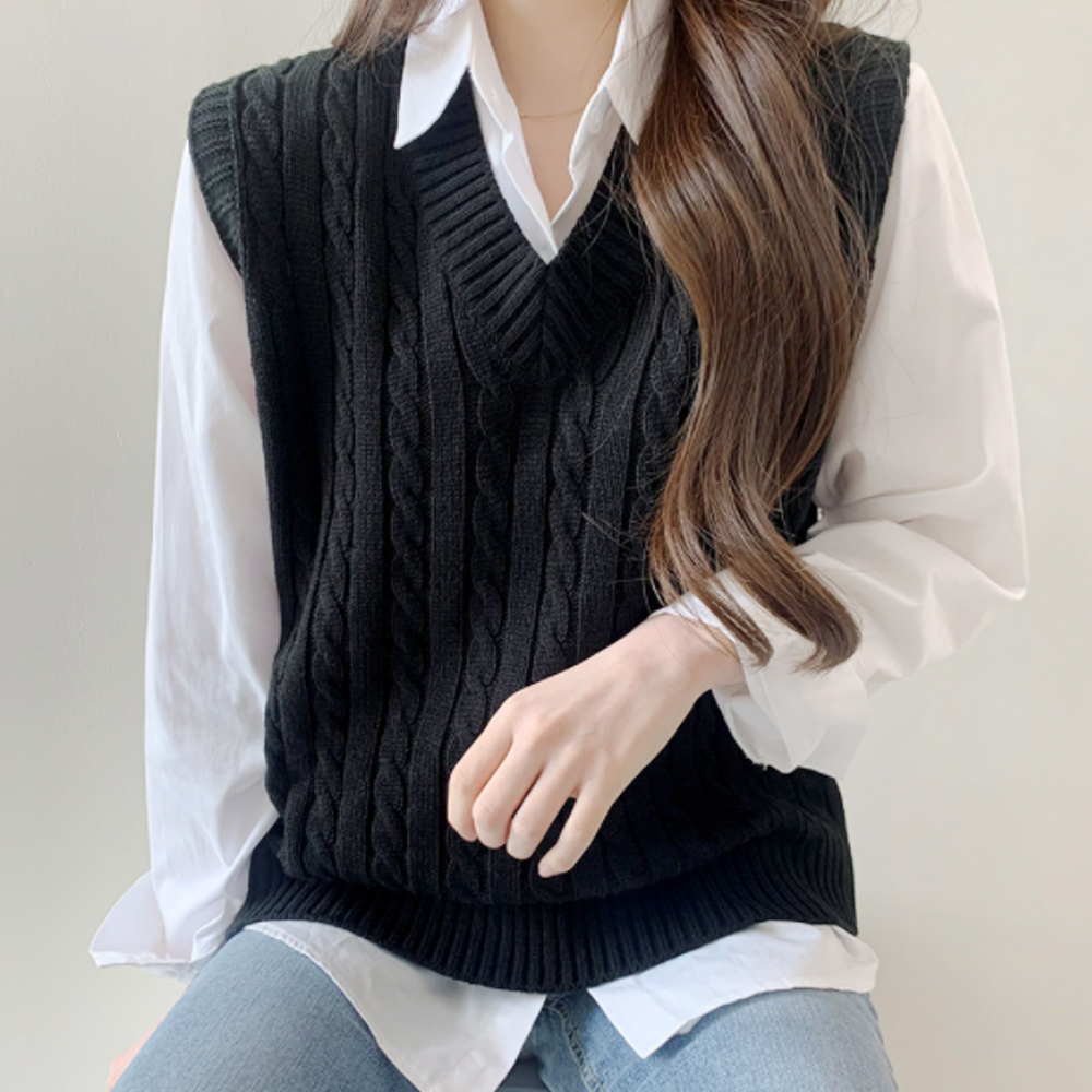 Best Loose-fit V-Neck Twisted Knitwear Vest T # YW738