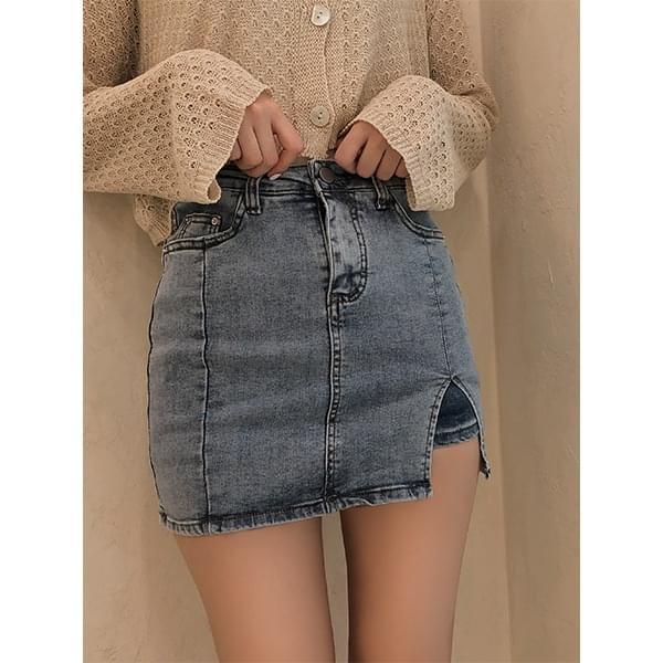 Blur, slit denim mini skirt
