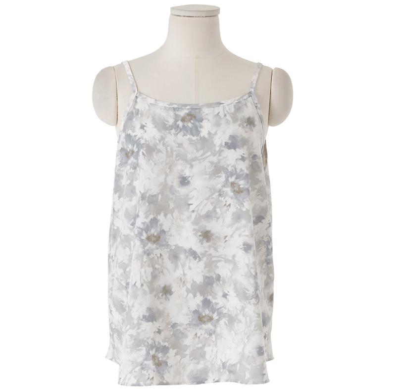 Water Flower Shirring Sleeveless