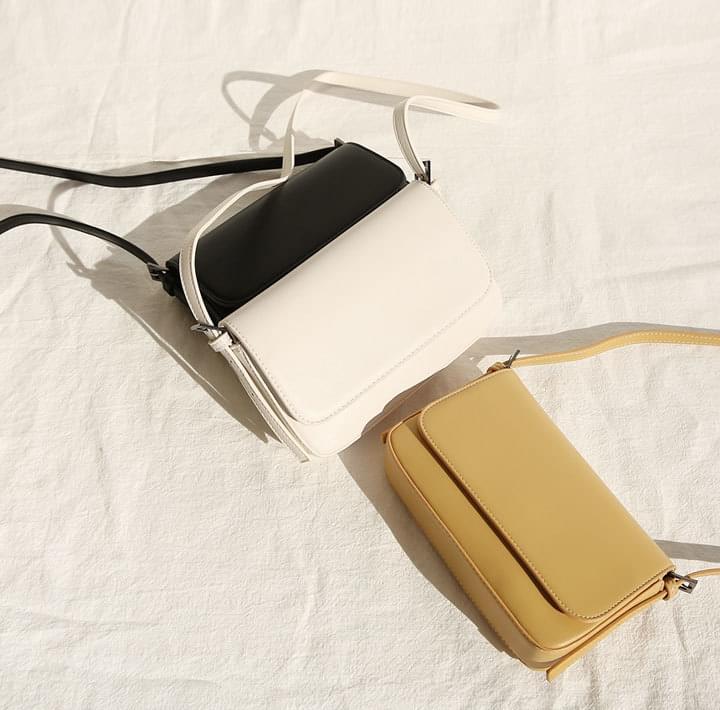 Snap-Buttoned Flap Leatherette Bag