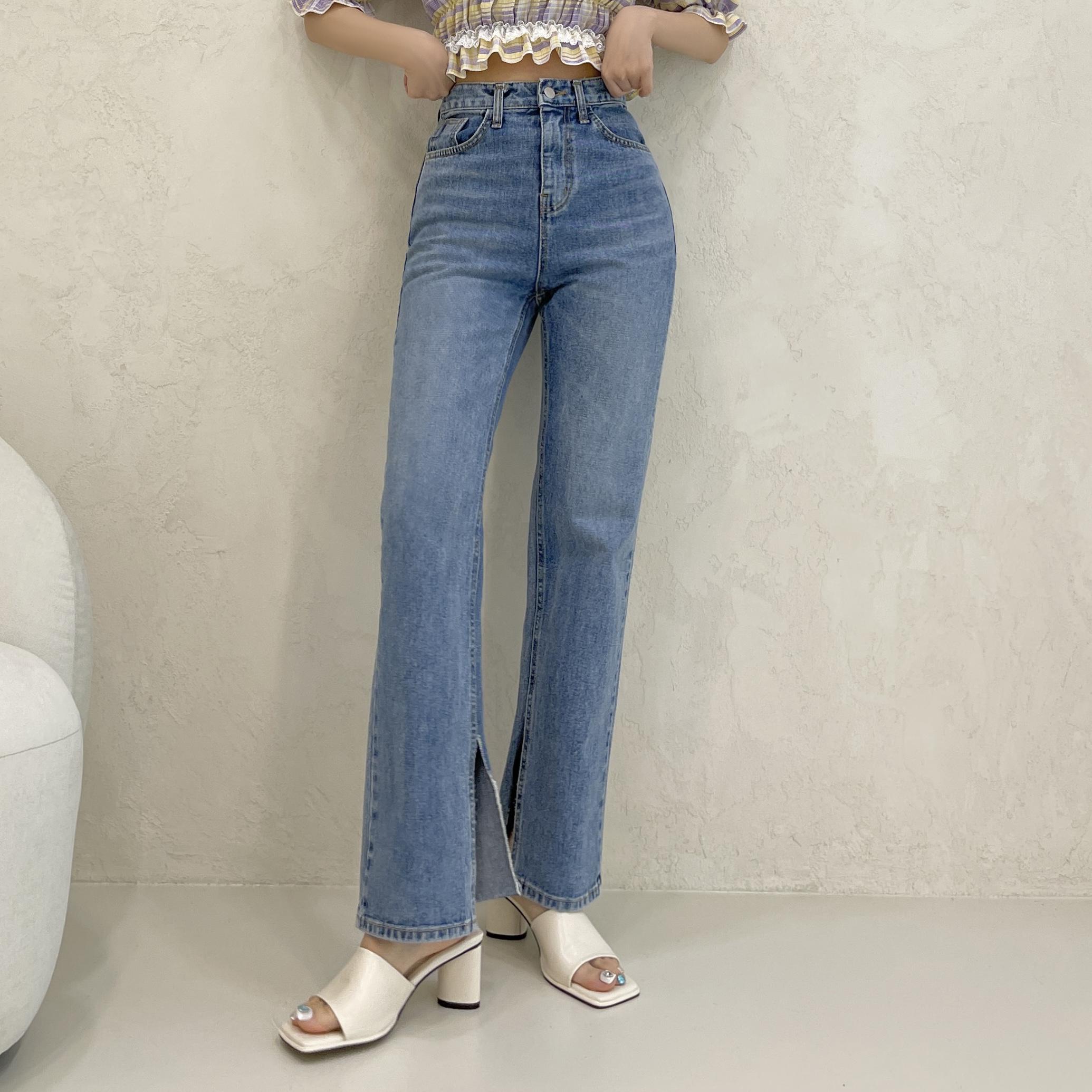 Long slit detail, straight wide denim pants
