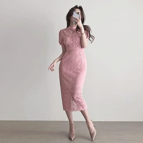 Short-sleeved lace long Dress 2color with narrow water drop slit choker puff