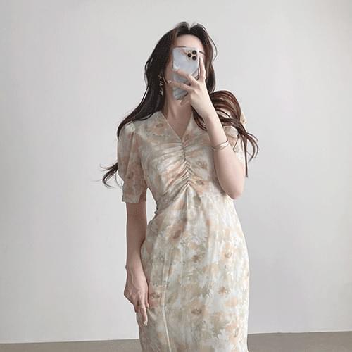 Gorgeous V-Neck Shirring Puff Short Sleeve Mermaid Chiffon Long Dress 3color