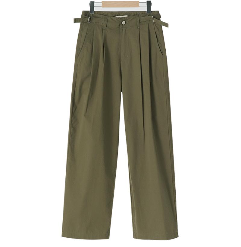 Buckle Belt Wide Pin Tuck Pants