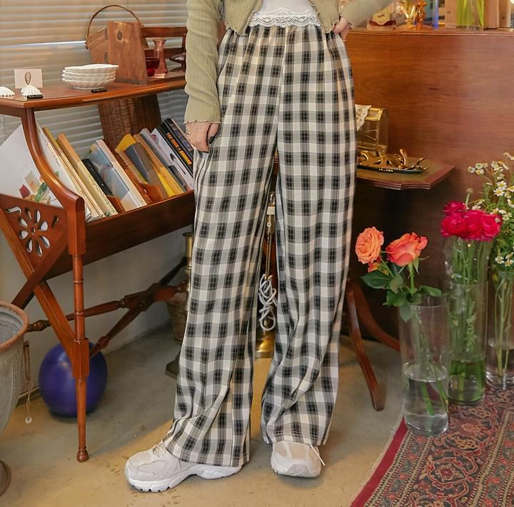 Wide Leg Check Pattern Pants