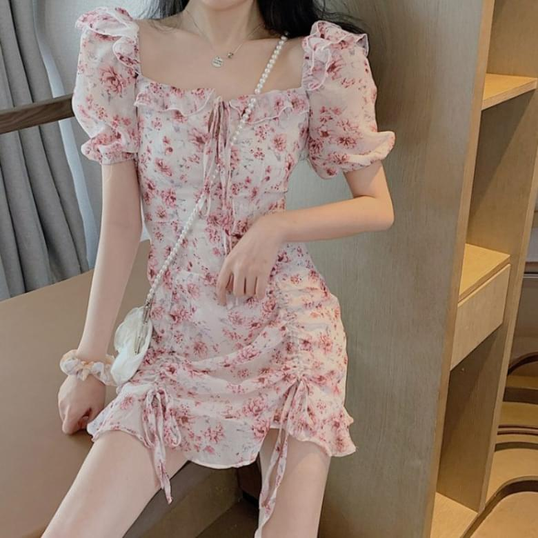 Flower pattern off-the-shoulder shirring Dress