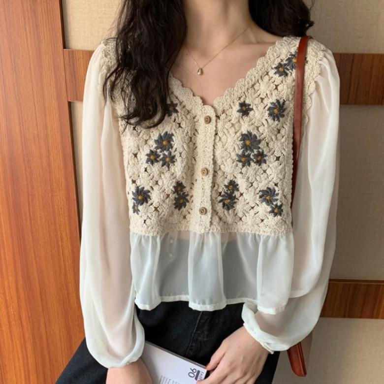 V-Neck Floral Chiffon Knitted Blouse