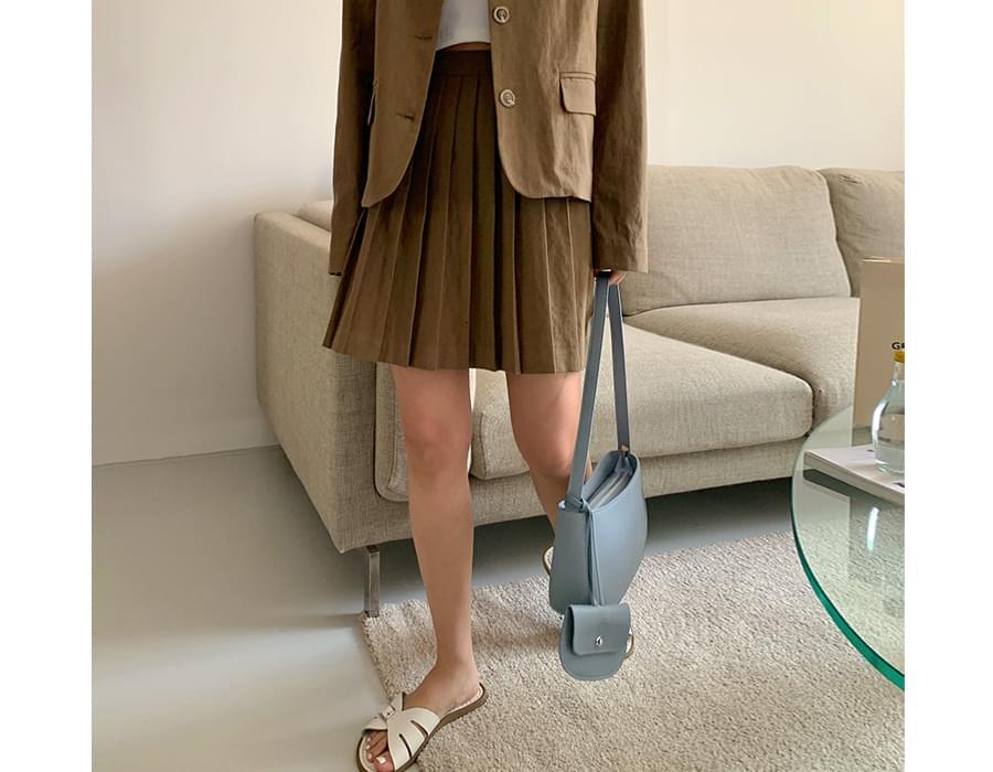Lien pleated linen skirt