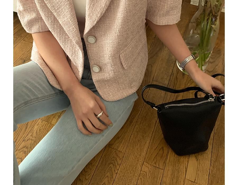 Mild leather mini shoulder bag