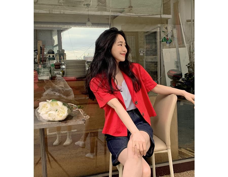 Bagel cropped linen short-sleeved jacket