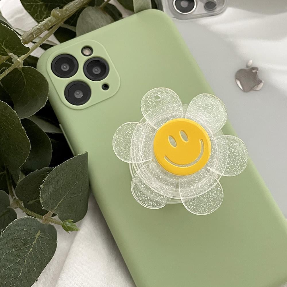 Smile Glitter Glitter Transparent Acrylic Grip Tok