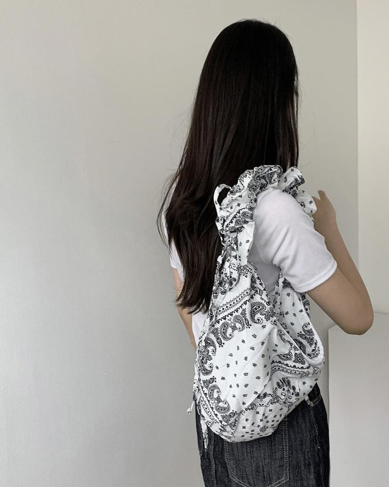 Judy Paisley Bandana Pleated Shirring Bag