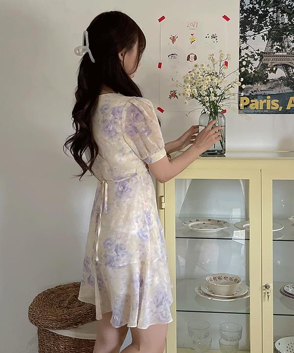 Laurent Flower Wrap Ruffle Dress 2color