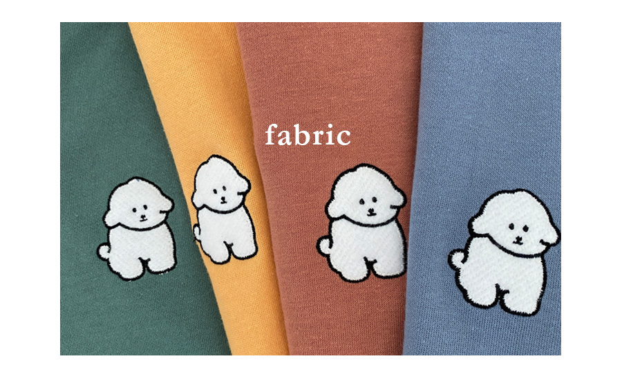 白い子犬ちゃんオーバーフィット半袖シャツ