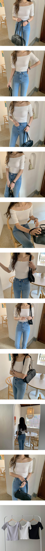 Off-shoulder short-sleeved Ribbed T-shirt