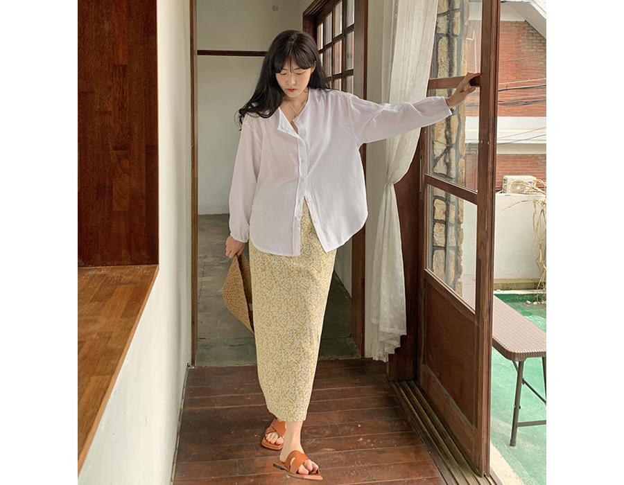 Flower Pattern Banding Long Skirt