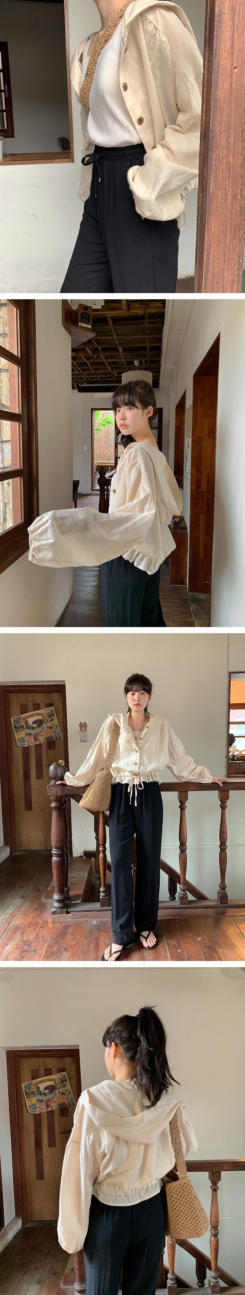 Linen string hooded shirt