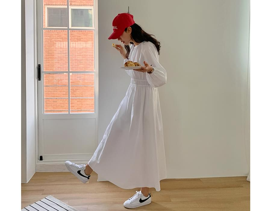 Cotton Shirring Banding Long Dress