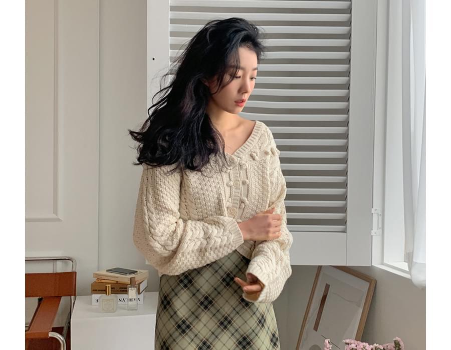 Mori Pom Pom Cotton Knitwear Cardigan