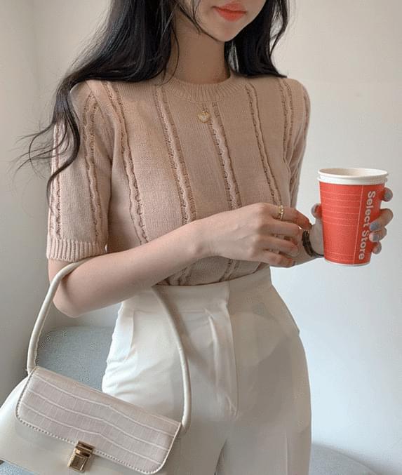 toffee nut short sleeve knit