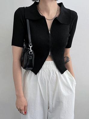 Ribbed Collar Zipper Knitwear Zip-Up