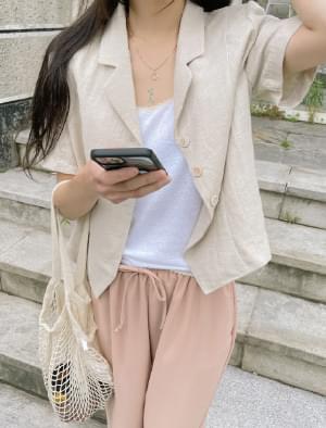 Picasso Semi Crop Linen Short Sleeve Jacket
