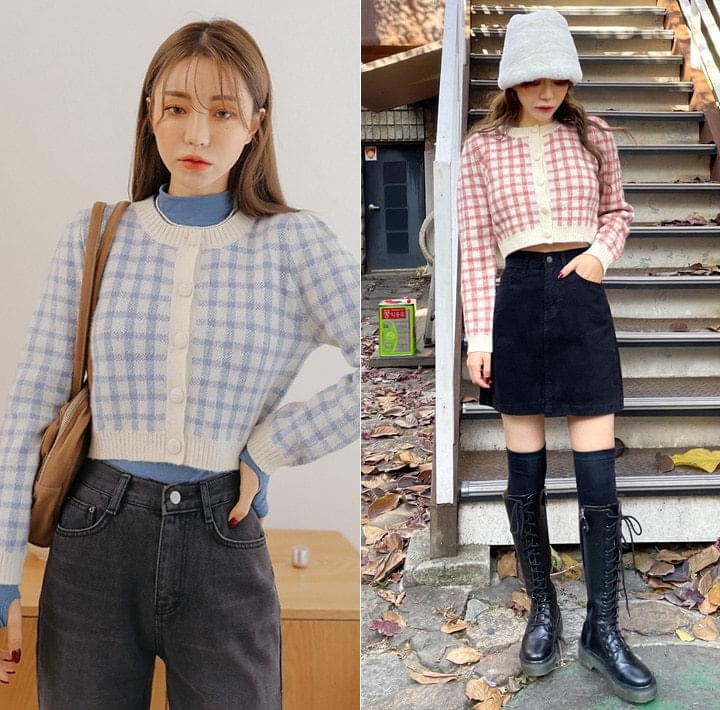 Wool Blend Check Cropped Cardigan WITH CELEBRITY _ HYO-JUNG(OH MY GIRL)