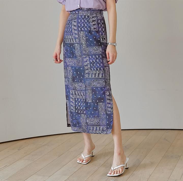 Paisley Straight Long Skirt