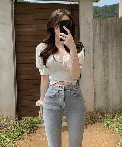 I love you so much Banding Off Shoulder Square Neck Puff Ribbon Strap Crop Blouse