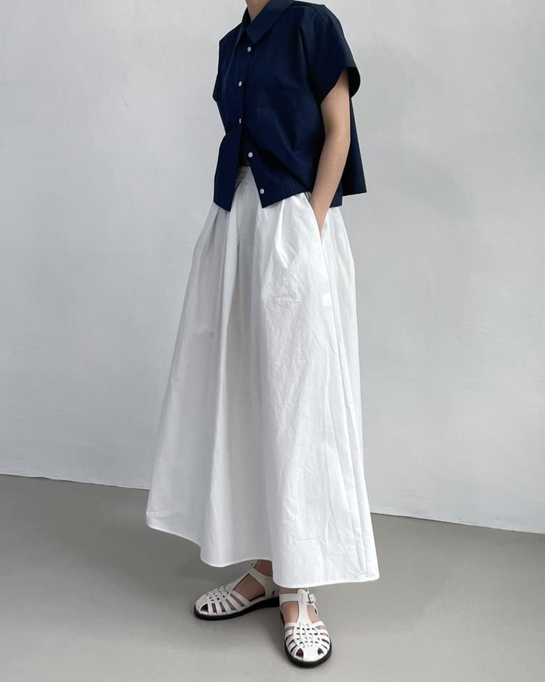 call banding flared long skirt