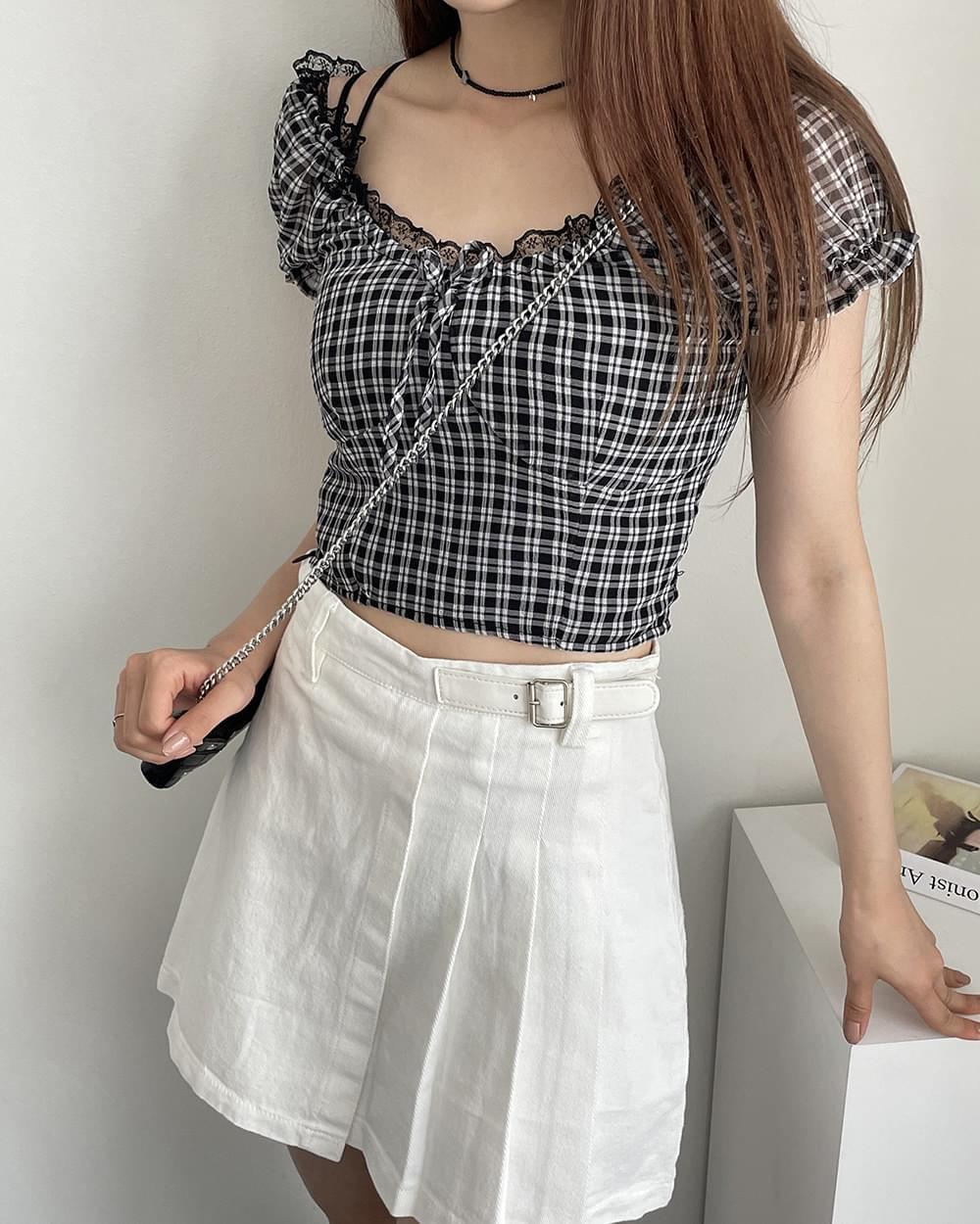 韓國空運 - 黑色格紋公主袖短版襯衫