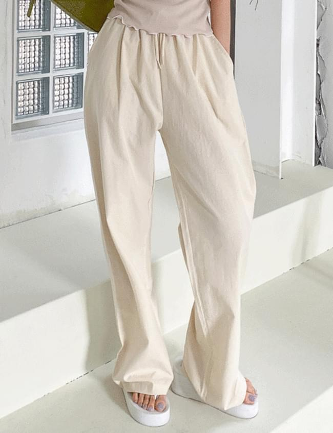 Pastel Cotton Banding Trousers