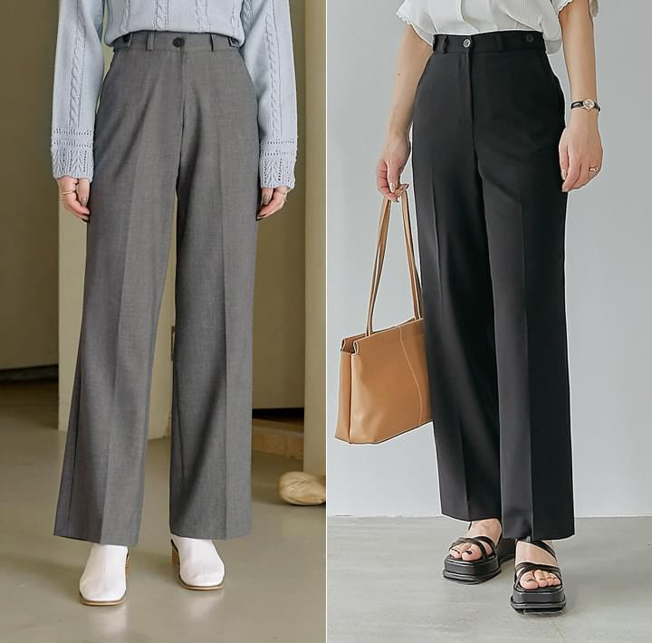 Buttoned Tab Accent Straight Slacks